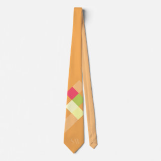 Minimalistic Orange Squares and Monogram Neck Tie