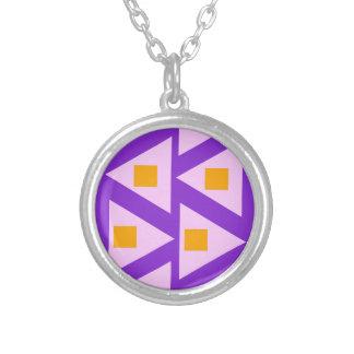minimalistic pink orange triangle pattern 2 round pendant necklace