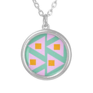 minimalistic pink orange triangle pattern round pendant necklace