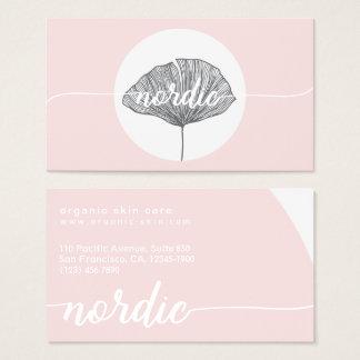 Minimalistic pink organic botanical gingko business card