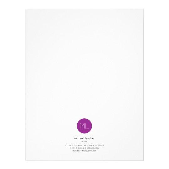 Minimalistic Purple Circle Monogram Letterhead