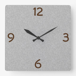 Minimalistic Quarterly Digits Grey Square Wall Clock