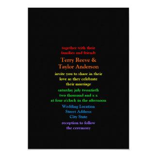 Minimalistic Rainbow-Colored Font Wedding Card