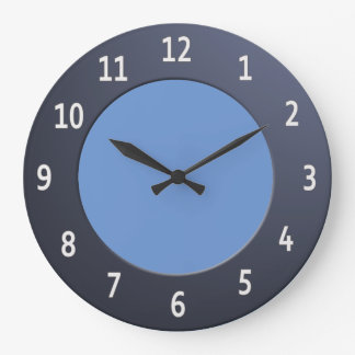 Minimalistic Shiny Blue Metallic with White Digits Large Clock