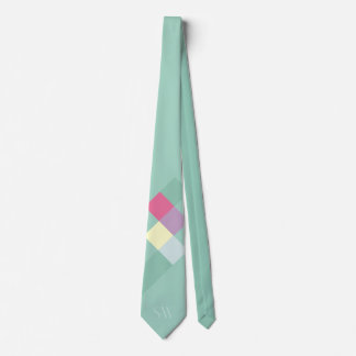 Minimalistic Teal Squares and Monogram Tie