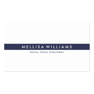 Minimalistic Tin Navy Blue Stripes On White Business Card