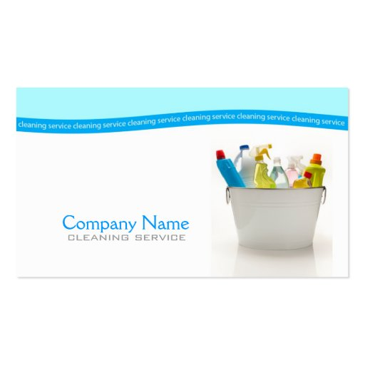 Minimalistic White & Blue Cleaning Service Card Double-Sided Standard Business Cards (Pack Of 100)