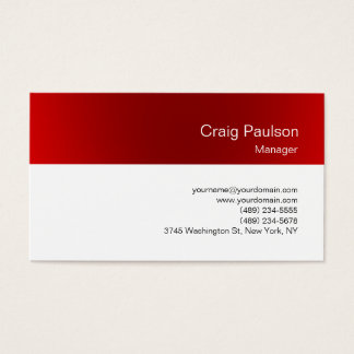 Minimalistic White Red Clean Business Card