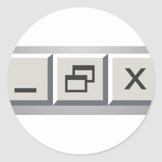 Minimize restore close classic round sticker