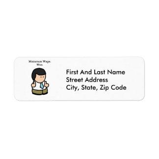 Minimum Wage Woo Cartoon Custom Return Address Label