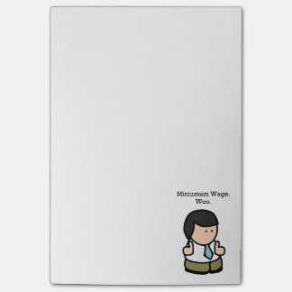 Minimum Wage Woo Funny Employee Cartoon Post-it Notes