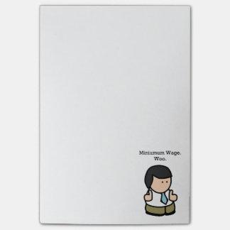 Minimum Wage Woo Funny Employee Cartoon Post-it® Notes