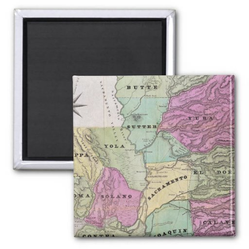 Mining District of California 2 Inch Square Magnet