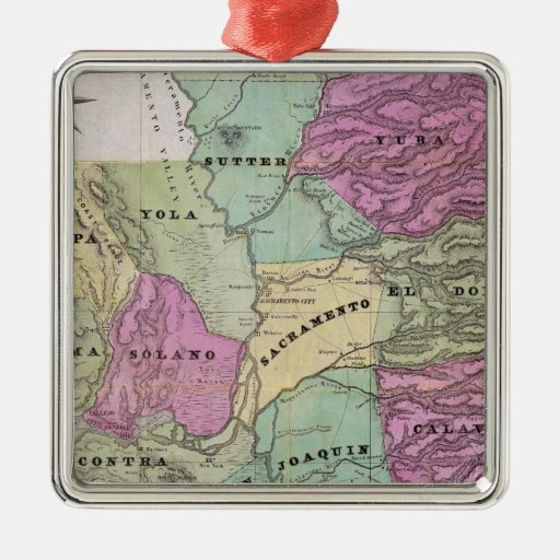 Mining District of California Square Metal Christmas Ornament