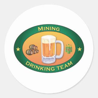 Mining Drinking Team Classic Round Sticker