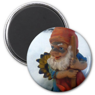 Mining GardenGnome / BergarbeiterGartenzwerg 2 Inch Round Magnet