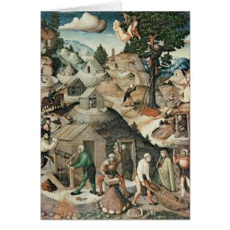Mining landscape, 1521 greeting card