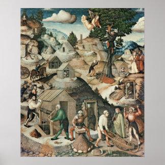 Mining landscape, 1521 poster