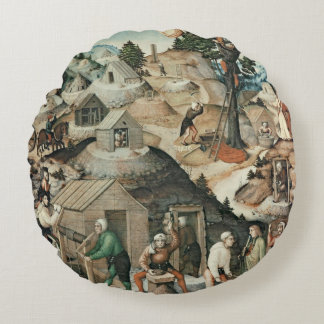 Mining landscape, 1521 round pillow