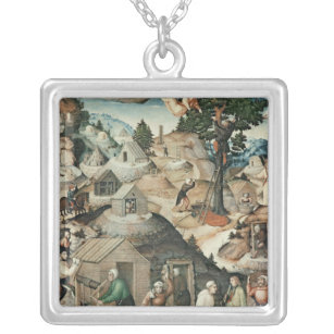 Mining landscape, 1521 silver plated necklace
