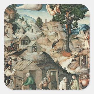 Mining landscape, 1521 square sticker