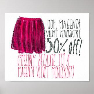 Miniskirt magenta del terciopelo póster