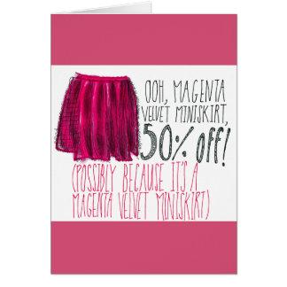 Miniskirt magenta del terciopelo tarjeta de felicitación