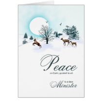 Minister, Christmas scene with reindeer Card