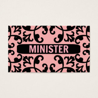 Minister Peach Damask Business Card
