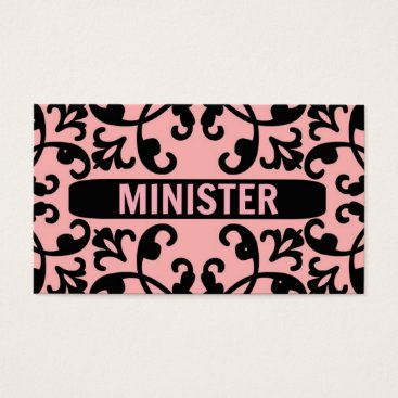 Professional Business Minister Peach Damask Business Card