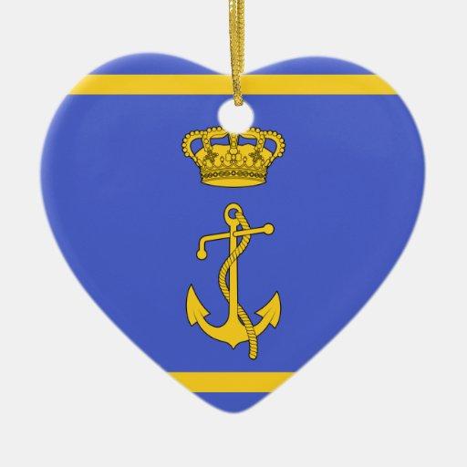 Ministro del puerto deportivo de Regia, bandera de Adorno De Cerámica En Forma De Corazón