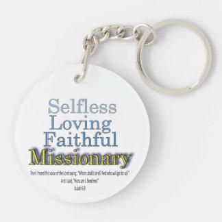 Ministro fiel del misionario llavero redondo acrílico a doble cara