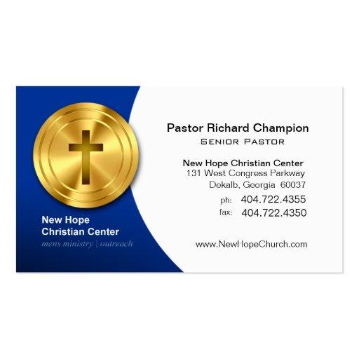Ministro/pastor cristianos cruzados de oro del sím plantilla de tarjeta de negocio