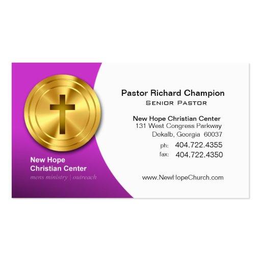 Ministro/pastor cristianos cruzados de oro del sím plantillas de tarjetas personales