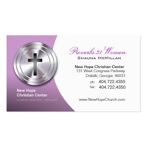 Ministro/pastor cristianos cruzados de plata del s tarjetas de visita