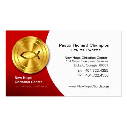 Ministro/pastor cristianos de oro del símbolo de l tarjeta personal