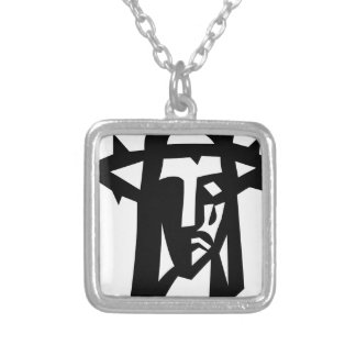 Ministry picture face of Jesus Silver Plated Necklace
