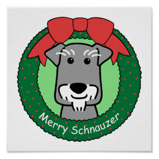 Miniture Schnauzer Christmas Poster