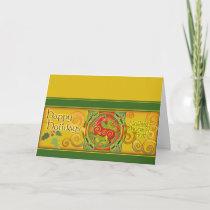 Mink Holidaze Xmas Card - Gold Spirals
