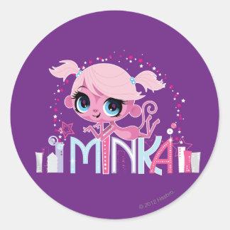 Minka en la ciudad grande 2 pegatina redonda