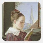 Minna Wasmann, la hermana del artista, 1822 Pegatina Cuadrada