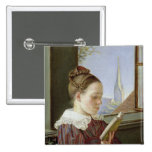 Minna Wasmann, la hermana del artista, 1822 Pin Cuadrado
