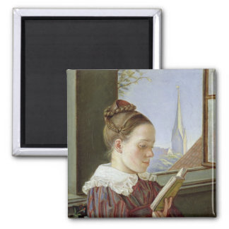 Minna Wasmann, the sister of the artist , 1822 2 Inch Square Magnet