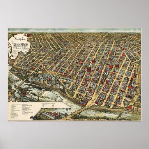Minneapolis birdseye map  - 1891 (Smith) BigMapBlo Poster