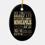 Minneapolis City of Minnesota State Typography Art Ceramic Ornament