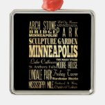 Minneapolis City of Minnesota State Typography Art Metal Ornament