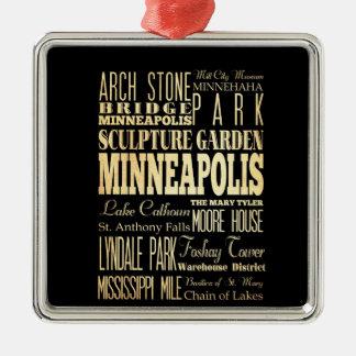 Minneapolis City of Minnesota State Typography Art Square Metal Christmas Ornament