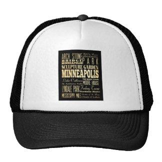 Minneapolis City of Minnesota State Typography Art Trucker Hat
