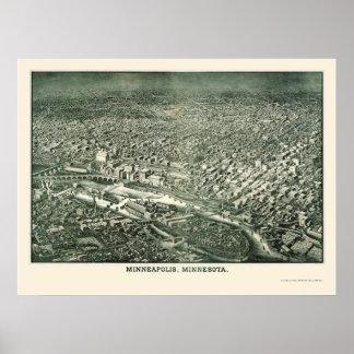 Minneapolis, mapa panorámico del manganeso - 1879 póster