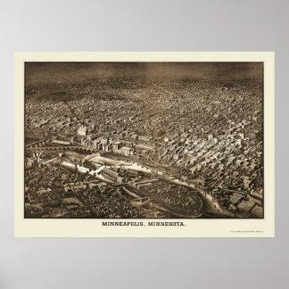 Minneapolis, mapa panorámico del manganeso - 1885 impresiones